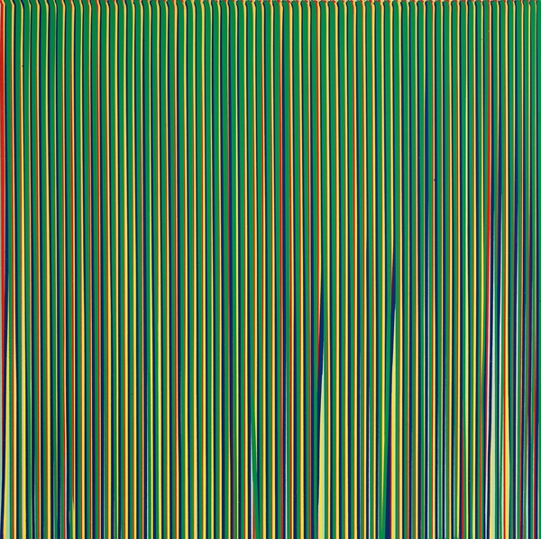 Poured Lines: Light Green, Red, Yellow, Blue and Green, 1995