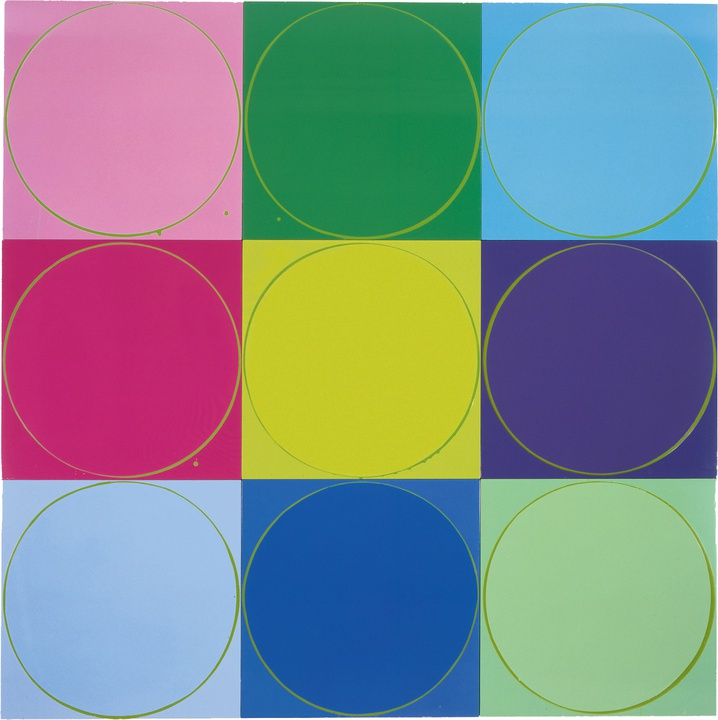 Untitled Circle Painting: 9 Multicoloured Panels with Green