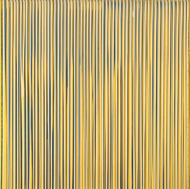 Poured Lines: Pale Lemon, Blue, Yellow, Beige, Cream