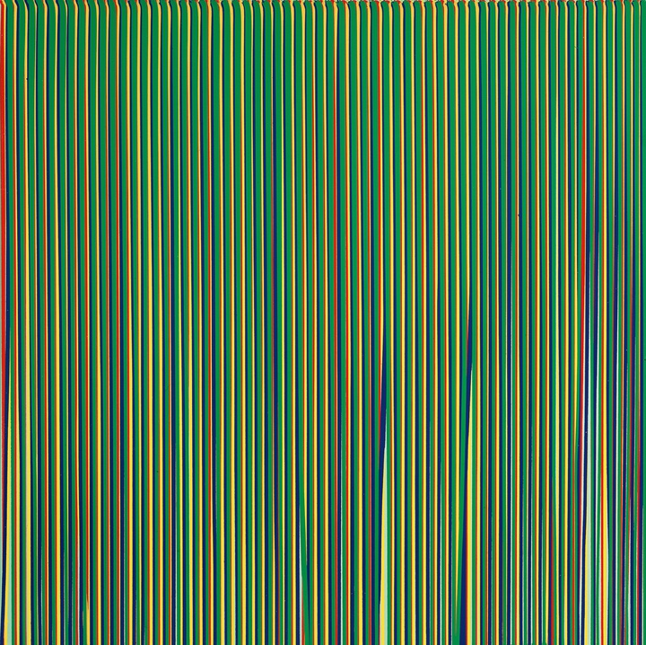 Poured Lines: Light Green, Red, Yellow, Blue and Green